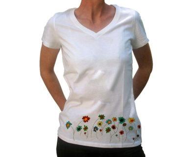 Tshirt femme flowers point